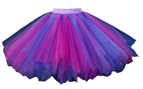 - Cleaivy 1950s Vintage Petticoats Crinolines Dance Skirt Adult Rainbow Bubble Tutu Fushia Royal Blue