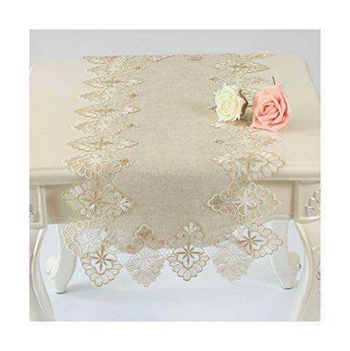 DOLINXH Vintage Elegant Embroidered Lace Trim Burlap Linen Table Runner for Dinning Party Wedding Banquet Border 1 40x180cm Linen - Burlap Linen Vintage Roses