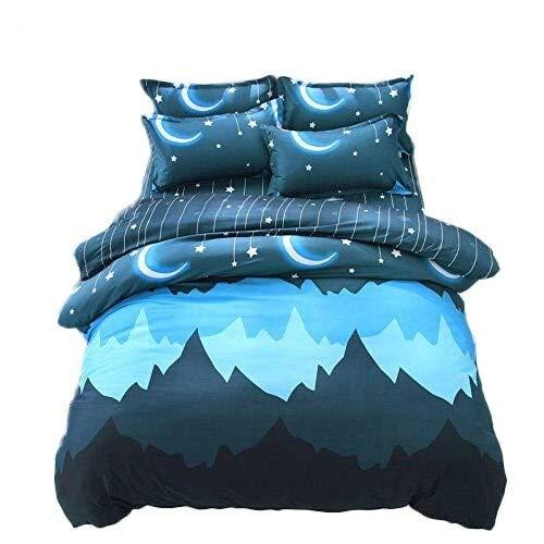 Lemontree Lightweight GoodNight Mysterious Crescent Moon Patterns Design Bedding Set Duvet Cover Set 4pcs (1 Duvet Cover+ 1 Bed Sheet +2 Pillowcases) (King)