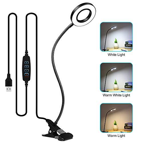 Lampara Escritorio LED, Zorara Lampara de Mesa USB 3 Modos de Iluminacion 10 Brillo 360 ° Flexible Lampara de Escritorio Led Regulable para Leer Estudiar [Clase de Eficiencia Energetica A]