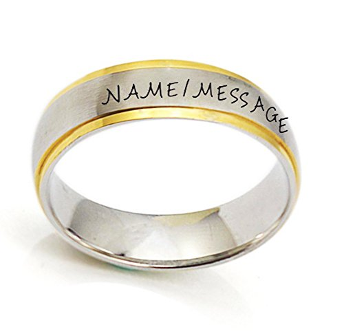 Personalized Dual Tone Name Date Message Rings custom Engraved for Mom Men Women Hand Stamped. (9) - Engraved Message Ring