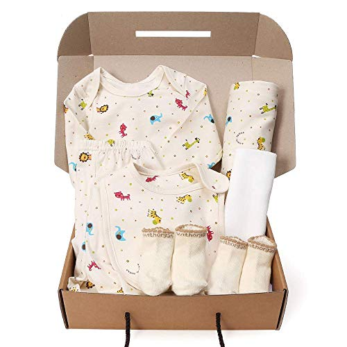 (WithOrganic Newborn Gift Set | 100% Organic Certified Cotton | 7 Pieces | for Baby Boy or Girl (6M, Mini Zoo 2))