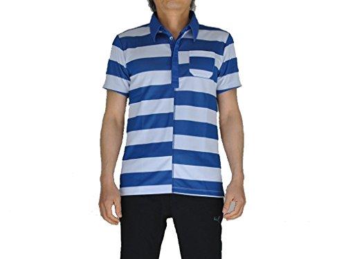 PUMA(プーマ) ゴルフS/Sワイドボーダーポロ メンズ ポロシャツ(半袖) モナコブルー×ホワイト 903470-02 Sサイズ