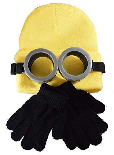 Coconut Creek Kids - Adult Minion Costume Kit 1 Minion Yellow Beanie, 1 Pair Goggles & 1 Pair Black Gloves ()