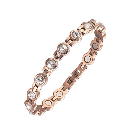 MOOCARE Ladies Elegant Rose Gold Magnetic Therapy Bracelet with White Swarovski Element Crystal, Health Magnet Wristband for Women Arthritis Pain ()