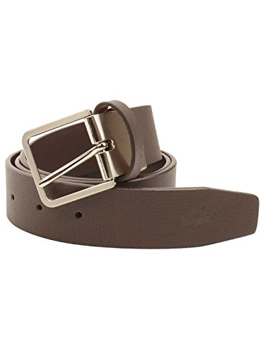 Lacoste Mens Leather Embossed Croc Belt in Brown 85 EUR/33 US US (Brown Lacoste Belt)