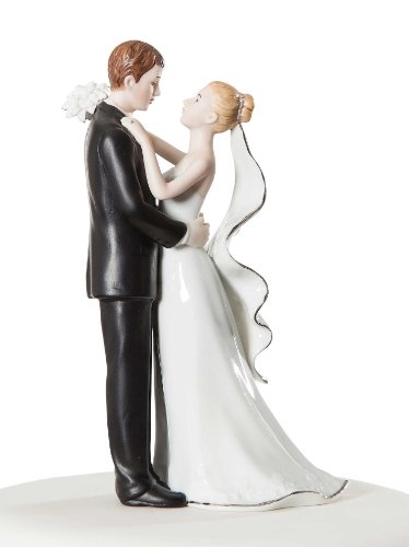 Wedding Collectibles White and Silver Porcelain Bride and Groom Wedding Cake Topper Figurine