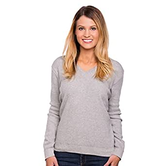 Women's Classic Long Sleeve V-Neck Sweater (Grey, X-Small)