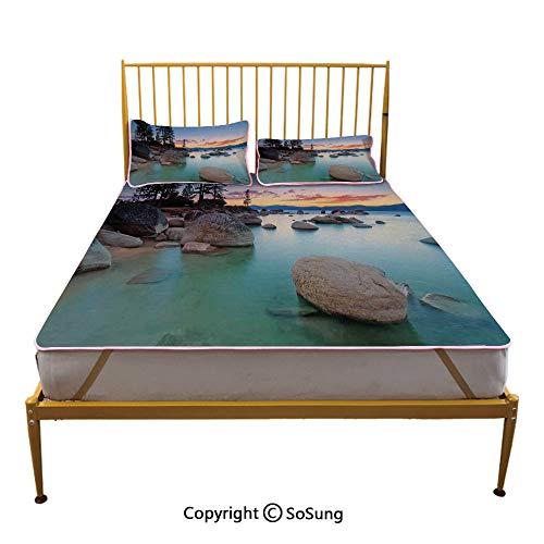 Lake Creative Full Size Summer Cool Mat,Horizon on Stoned Sea Exquisite Sun Beams and Reflection Romantic Shore Coastal Theme Sleeping & Play Cool Mat,Blue Grey