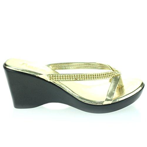 Mujer Señoras Diamante Dedo Del Pie DeLla Barra Ponerse Tacón De Cuña Diarion Casual Cómodo Fiesta Sandalias Zapatos Talla Oro
