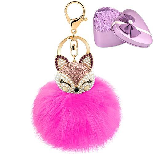 (JOUDOO Fluffy Fur Ball Keychain With Gift Box Fox Head Pom Pom Keyring GJ020 (rose red))