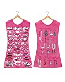 HomeExpress 2 Sides Hanging Jewelry Non-Woven Organizer, Hair Accessories & Makeup Multi Pockets 14 Hook No Hanger (30 Pockets, Pink)