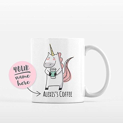 Personalized Mug Unicorn Mug Custom Mug Name Mug Coffee Lover Gift Idea Unique Personalized Gift for Her Adult Women Office Coffee Mug Cup, 11oz, 15oz, gift ()