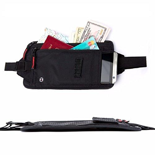 Travel Money Belt / RFID Blocking & Waterproof / Hidden Waist Holder for Credit Cards & (Interior Money Pouch)