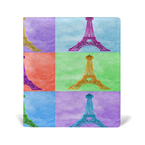 Wholesale AURELIOR Bright Colorful Eiffel Tower Pattern Stretchable PU Leather Book Cover 9 x 11 Inches Fits for School Hardcover Textbooks