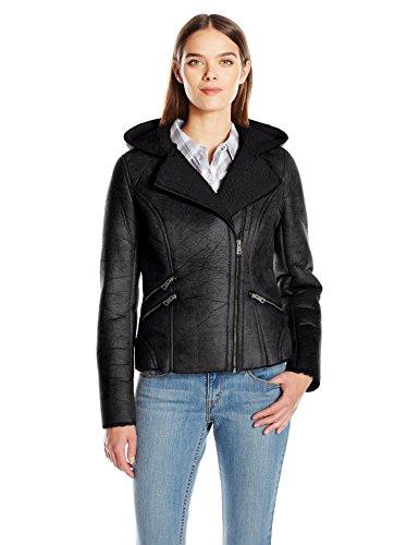 Levi's Women's Faux Shearling Assymetrical Sherpa Lined Hooded Coat, Black, (Hooded Black Shearling Coat)