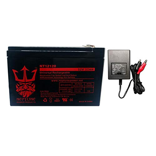 Neptune 12V 12Ah NT-12120 Rechargeable SLA Sealed Lead Acid Battery combo with Charger