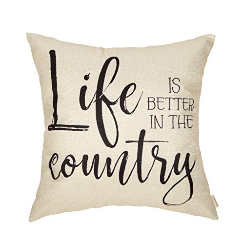 Fahrendom Rustic Farmhouse Home Décor Life is Better in The Country Decorative Throw Pillow Cover Vintage Living Style Family House Quote Sign Decoration Cotton Linen Cushion Case for Sofa Couch 18 x