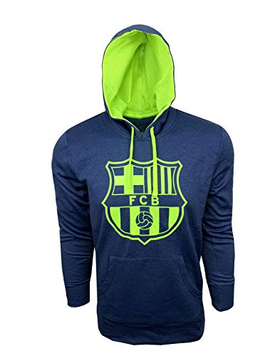 FC Barcelona Hoodie for Adults, Official Barcelona Navy Pull Over Hoodie, Navy/Neon Color, Hooded Sweatshir