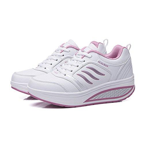 SHINIK Zapatos de mujer PU primavera verano otoño Comfort zapatillas tacón plano punta redonda para Casual negro gris rojo rosa azul blanco UN
