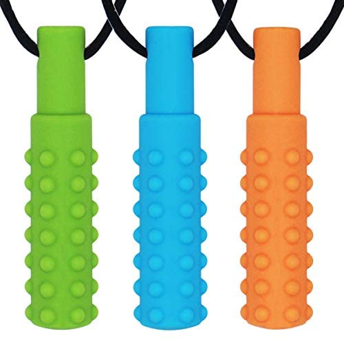 Teething Necklace Baby Chew Toy Autistic Children Teether Pendant Blue