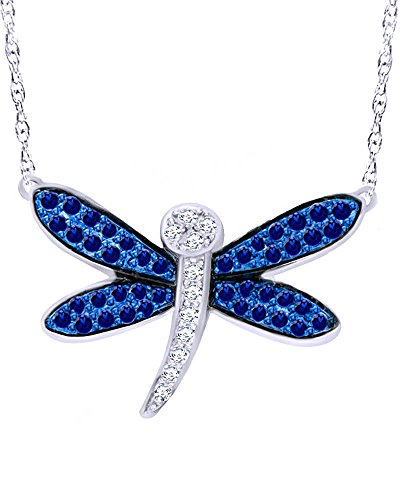 Wishrocks Round Cut Blue and White Sapphire Dragonfly Pendant Necklace in 10K Solid White Gold