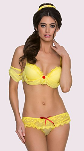 6287 Mademoiselle Fantasy Princess Outfit Color Yellow Size M - Princess Outfit For Adults