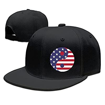 The USA Flag Art Solid Flat Bill Hip Hop Snapback Baseball Cap Unisex sunbonnet Hat.