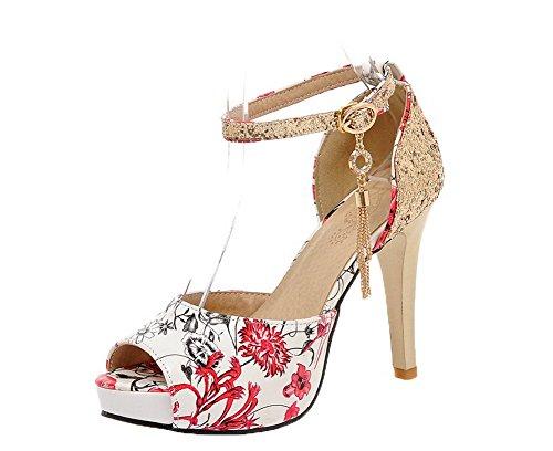 Alto Colore ccallp012376 Tacco Sandali Donna Voguezone009 Sbirciare Fibbia Rosso Assortito TwtZTqXW