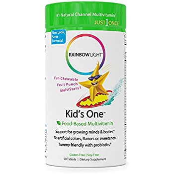 Rainbow Light - Kids One™ Chewable Multivitamin & Mineral - Supports Brain, Bone, Heart, Eye, and Immune Health in Kids - 90 Tablets