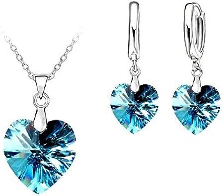 Parure Bijoux Coeur Bleu Lagon Cristal SWAROVSKI ® ELEMENTS Argent ...
