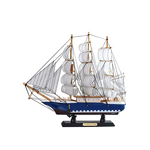 (NBRTT Sailboat Model Decoration Wooden Sailing Boat Mini Vintage Nautical Wood Ship Home Decor for Table Ornament Photo Props Beach Ocean Theme Party)