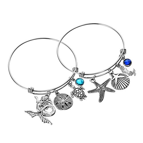 Matching 2 Piece Mermaid and Starfish Charm Bracelet Expandable Wire Bangle Beach Ocean