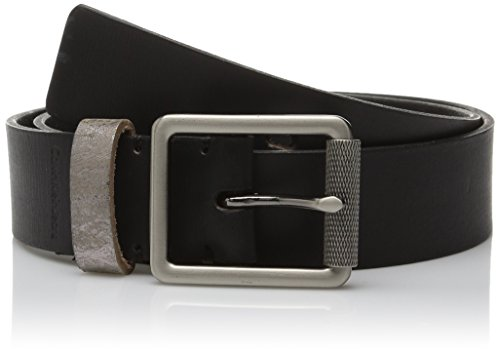 Calvin Klein Women's 38MM Flat Strap Distressed Metallic Leather Loop Belt, Black, Small