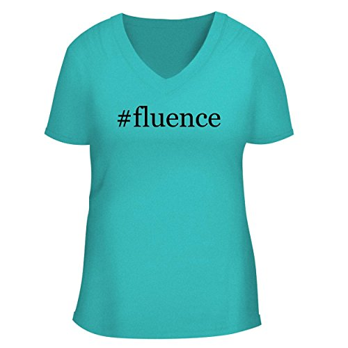 BH Cool Designs #Fluence - Cute Women's V Neck Graphic Tee, Aqua, (04 Aqua Shower Door)