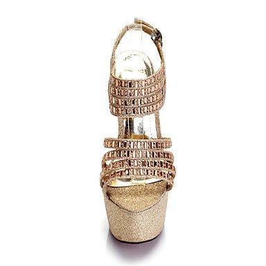 Talones de las mujeres Primavera Verano Otoño Otro boda sintético fiesta y noche vestido de tacón de aguja de cristal Negro Oro astilla Sliver