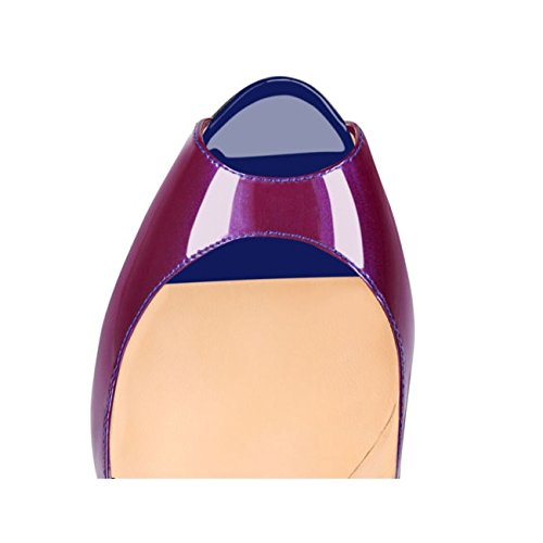 Color Party Women Gradient Blue Heel Pumps Emiki Patent Peep Sandals Wedding Stilettos Court Leather Shoes Toe purple High Extreme vxZqw