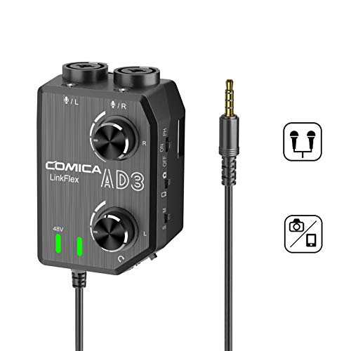 Comica LINKFLEX.AD3 Microphone Audio Preamp/Mixer 2-channels XLR/3.5mm/6.35mm-3.5mm, 48V Phantom Power & Real Time Monitor, Universal Canon Nikon Sony Camcorders DSLR Cameras &Smartphone (Mixer Mobile)