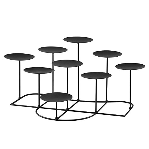 smtyle DIY 9 Mantle Candelabra Flameless or Wax Candle Holders For Fireplace with Black Iron Decoration on Desk / Floor (Candle Holder Large)