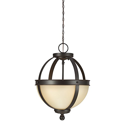 Sea Gull Lighting 7790402-715 Sfera Two-Light Semi-Flush Convertible Pendant with Cafe Tint Glass Bowl, Autumn Bronze (2 Light Convertible Bowl Pendant)