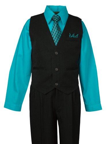 Spring Notion Boys Pinstripe Dress Shirt Vest & Pants Set 20 Turquoise