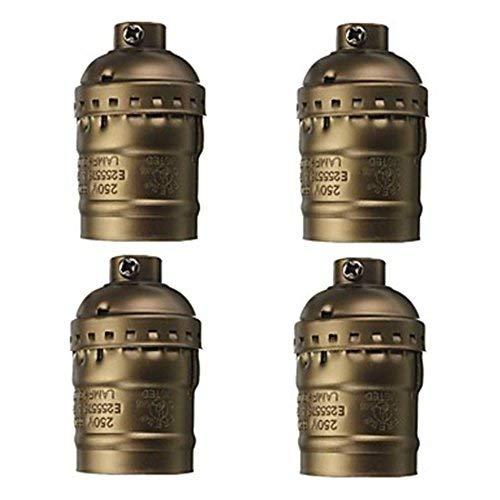 LIXDE E26/E27 Socket, Metal Antique Brass Screw Bulbs Shell Medium Base Retro Pendant Lamp Holder Heat Resistant Safe and Durable Lamp Holder ()