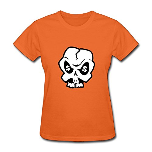 Womens USD Skull Organic Cotton T-shirt Size S Color Orange