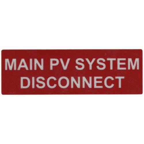 HellermannTyton 596-00243 Pre-Printed Reflective Solar Label, 5.5'' X 1.75'', MAIN PV DISCONNECT, Red (Pack of 50)