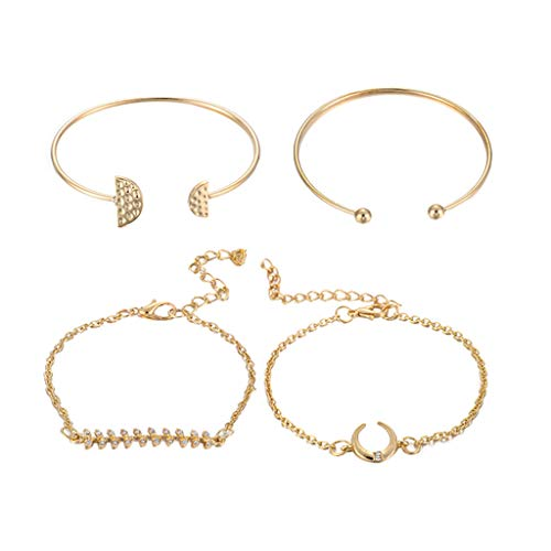 (Haluoo Gold Plated Bracelets 4 Pcs,Haluoo Trendy Simple Geometric Semicircle Cuff Bracelet Olive Branch Charm Bracelet Dainty Moon Rhinestone Bracelet Minimalist Open Bangle Bracelet for Women (Gold))