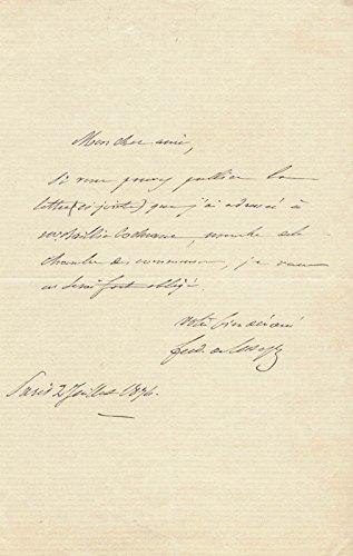 Ferdinand De Lesseps Autograph Letter Signed 07/02/1876