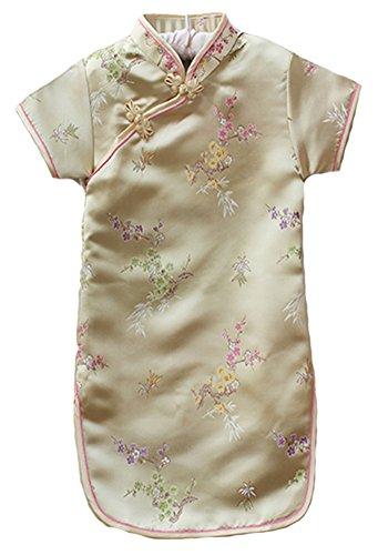 (AvaCostume Girls Traditional Chinese Qipao Cheongsam Dress, 7-8, Goldbamboo)