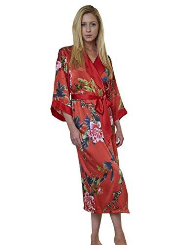 Luxury Dynasty Silk (Dynasty Robes 100% Silk, Women's Printed Long Red Robe With Shawl Collar-Festive Peony)