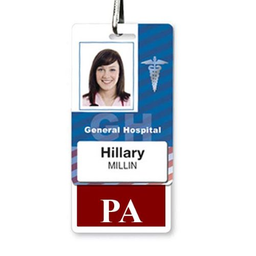 PA Vertical Badge Buddy with Maroon Border by Specialist ID, Sold Individually