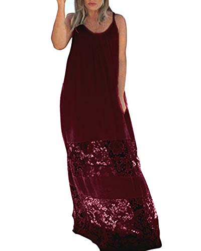 Kidsform Long Maxi Dresses for Women Lace Spaghetti Strap Mesh Plus Size Plain Sundresses Summer Beach Party Casual Comfy Beachwear O-Claret Medium